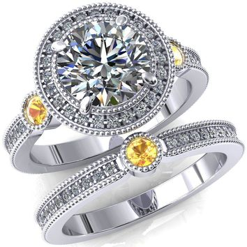 Brachium Round Moissanite Yellow Sapphire Bezel Milgrain Halo 3/4 Eternity Accent Diamond Ring