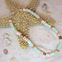 Red Lip Heishi Sea Green Cats eye Silver Floral Beads Ankle Bracelet Beach Anklet Summertime Jewelry Sun tan Natural Shell Bohemian Chic