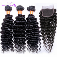 Online Shop Unprocesed Brazilian Deep wave With Closure Human Hair Bundles With Lace Closure 3 Bundles With Closure Deep Wave Brazilian Hair | Aliexpress Mobile