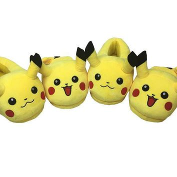 New Pokemon Pikachu Adult Plush Slipper,Kids Baotou 1 Pair oF Shoes Cosplay Unisex Paj