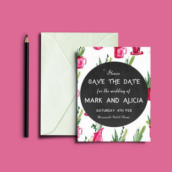 Cactus Wedding, Save the date, rustic wedding,  Printable Save the date, Country wedding Invitation, Chic Wedding stationary, DIY Invite