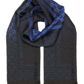 DCCK3SY Versace Collection Blue Logo Ombre Scarf