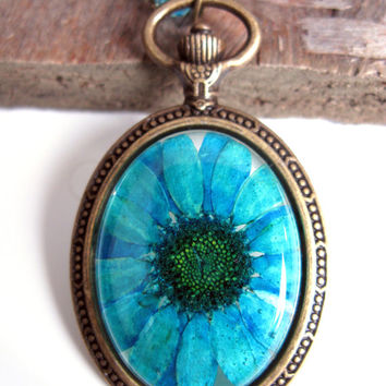 Teal Daisy Resin Pendant Necklace - Real daisy in resin in open back Pocket Watch Bezel, Pressed Flower Jewelry - Resin Necklace Blue Daisy