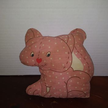 vintage strawberry shortcake pet custard kitty cat finished plush pillow