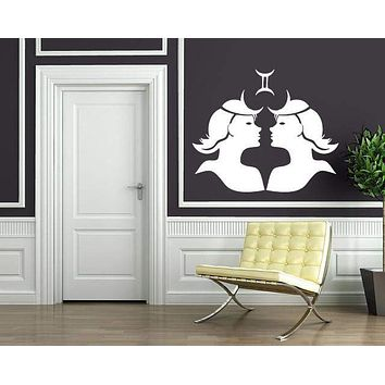 Vinyl Decal Wall Sticker Gemini Symbol Zodiac Sign Living Room Decor Unique Gift (n907)