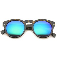 Euro Dapper P3 Horned Rim Round Mirror Lens Sunglasses A036