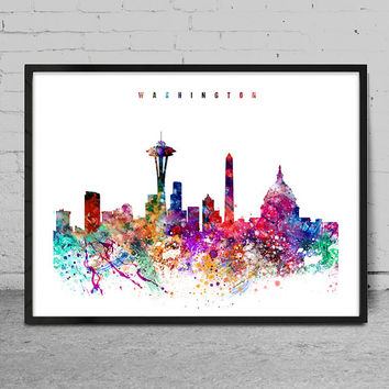 Washington Watercolor Print, Washington watercolor Art, Wall art, Washington Skyline, Cities Art, Wall Art, typography art, Washington -x15