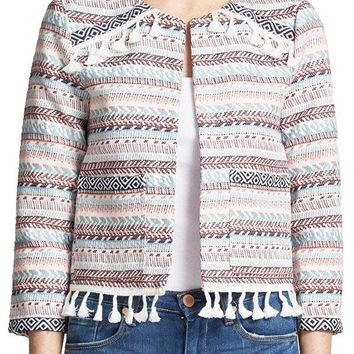 Jack by BB Dakota Jacquard Jacket with Fringe/Ribbon Trim