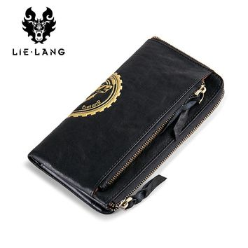 Leather Wallet Clutch Male Black Phone Bag Purse Coin Men Long Clutch