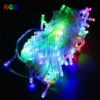 220V 110V 10M 100LED Home Outdoor Waterproof Holiday Christmas Decorative Wedding Xmas String Fairy Garlands Strip Party Lights