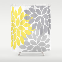Bold Colorful Yellow Gray Dahlia Flower Burst Petals Shower Curtain by TRM Design