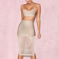Two Piece Crop Top & Mesh Skirt
