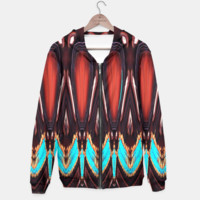 K172 Wood and Turquoise Abstract Hoodie, Live Heroes