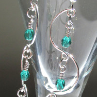 Chandelier Earrings, Teal Beaded Earrings, Teal & Silver Earrings, Prom 2015, Bridal Jewelry, Bridesmaid Gift, Delicate Jewelry