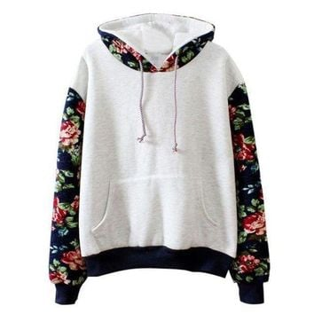 Women Floral Long Sleeve Fleece Hoodie Sweatshirt Pullover Tops Hooded Coat