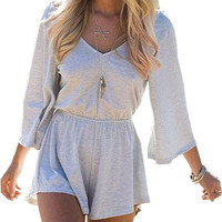 Gray V-Neck Backless Long Sleeve Romper