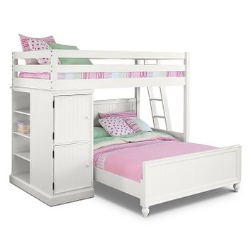 Colorworks White II Kids Furniture Loft Bed with Full Bed - Value City Furniture
