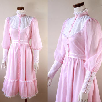 Vintage - 70s/80s - Baby Pink - White Lace - Ruffle & Ribbon - High Collar - Button Up - Puffy Sleeve - Prairie - Gunne Sax Style Dress