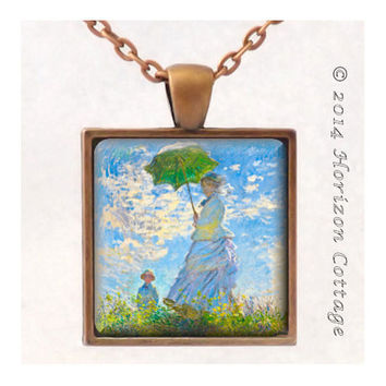 Monet's Classic Painting Titled Woman with a Parason - Old Masters' Classic Artwork - Key Ring or Pendant - Your Choice of Finish