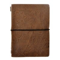 ZLYC Vintage Handmade Refillable Leather Flowers Emboss Passport Size Travelers Journals Diary Notepad Notebook, Coffee