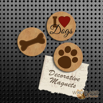 I Love Dogs Magnets, Dog Gift Set, Dog Paw Print and Dog Bone Fridge Magnets, Set of 3 Handmade Wood Refrigerator Magnets, Great Gift