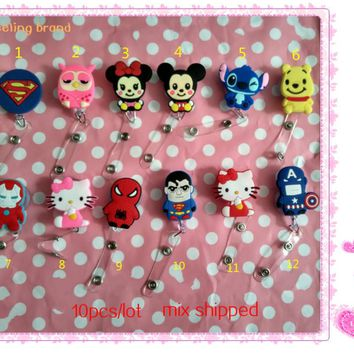 10pcs Cute Cartoon Heroes Retractable Badge Reel Pull ID Card Badge Holder Belt Clip Hospital School Office Favor