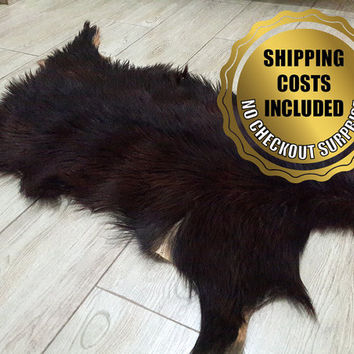 Genuine DarkBrown-Black Goatskin Rug For Cosy Scandinavian Style Home Decoration // 100% Naturel Very Long Hair Pelt Goat Hide Throw Carpet