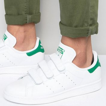 adidas Originals Stan Smith Velcro Sneakers In White S75187 at asos.com