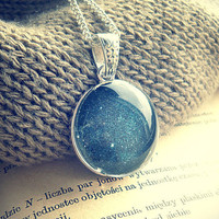 Retro Space, Silver Galaxy Stars Long Neckace - Free Shipping - Made to order :)
