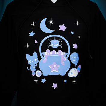 Witches Brew Cauldron Kitty, Spider, and Ghost Hooded Sweatshirt Kawaii Fairy Kei Pastel Goth