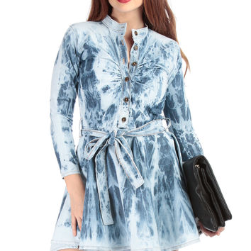 Tie Dye Denim A Line Dress
