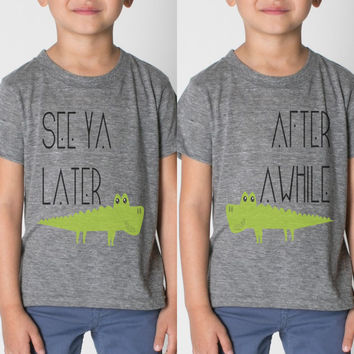 2 TEE SET - SEE YA LATER ALLIGATOR / AFTER AWHILE CROCODILE BFF SHIRTS BY THE MAGPIE CO - CHILDREN AND ADULTS