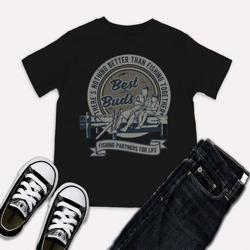 Boy's Matching Fishing T-Shirt Father Son Best Buds Grandpa Shirt
