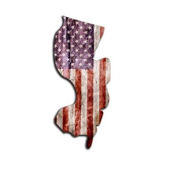 New Jersey Distressed Tattered Subdued USA American Flag Vinyl Sticker