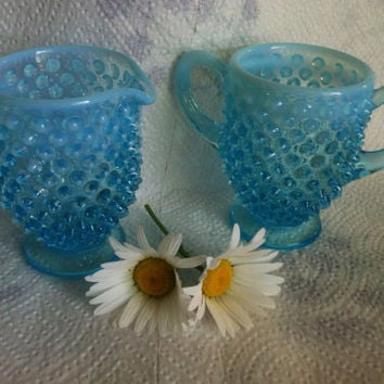 Blue Hobnail Sugar Creamer Set Fenton Aqua Turquoise Opalescent Milk Glass Cream Pitcher and Sugar Dish 1940's Collectible Serving Pieces