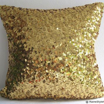 Starry Night. Luxury Glamour. Gold Sequins Embellished Pillow Cover