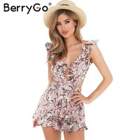 BerryGo Sexy ruffle floral print jumpsuit romper Causal hollow out summer beach playsuit Women deep v neck backless overalls
