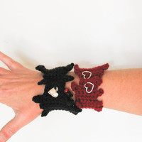 Red Black Heart Beat Crochet Cuff Valentine day Freeform Cuff Bracelet Love Gift under 15