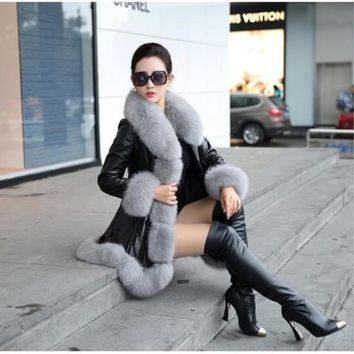 Latest Winter Female Sheepskin Coats High Quality Faux Fur Pure Color Fox Collars Snap Fastener Furs Big Yards Slim PC001