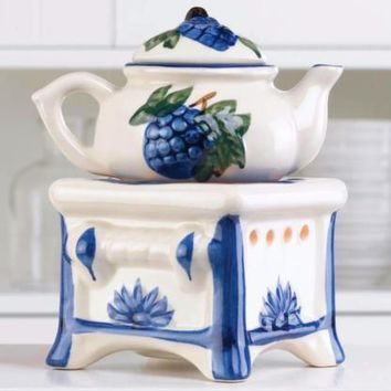 Blue and White Teapot Stove Home Fragrance Tealight Candle Essential Oil Warmer