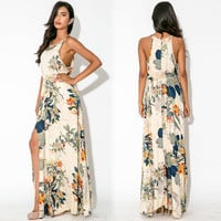 Green Floral Print Strappy Sleeveless with Slit Maxi Dress