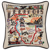 Illinois Hand Embroidered Pillow