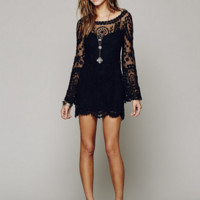 Black Lace Crochet Trumpet Sleeve Dress