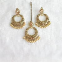 Bollywood Gold Earrings Tikka Jewelry Studded With Crystals And Rhinestones/Ethnic Temple Jewelry/Traditional Long Earrings/Polki Earrings