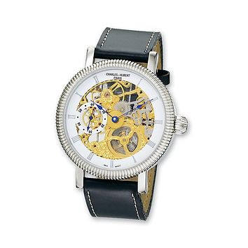 Charles Hubert Mens Two-tone Skeleton Dial Watch