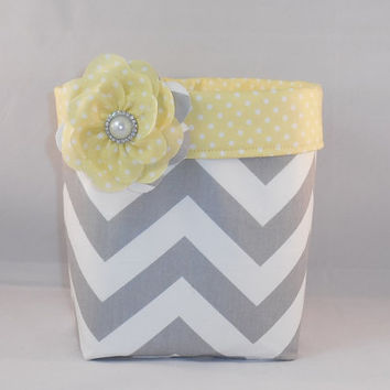 Gray and White Chevron Fabric Basket With Yellow and White Polka Dot Liner And Detachable Fabric Flower Pin For Storage Or Gift Giving