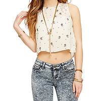 Coco + Jameson Lace Insets Printed Crop Top - Vintage Ivory