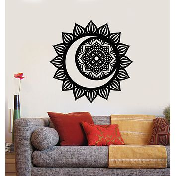 Vinyl Wall Decal Mandala Meditation Room Decor Sun And Moon Stickers (3181ig)