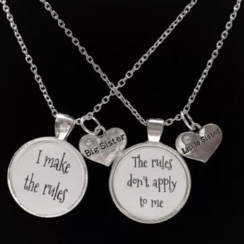 Big Sister Little Sister I Make The Rules The Rules Don't Apply Necklace Set