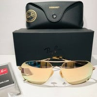 RAY-BAN CHROMANCE POLARIZED SUNGLASSES RB3587CH 001/10 MIRROR LENS FAST SHIPPING
